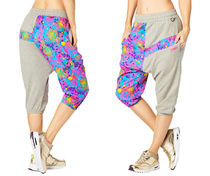 新作♪ZUMBAズンバQueen Of The Jungle Harem Capri Pants-TGray