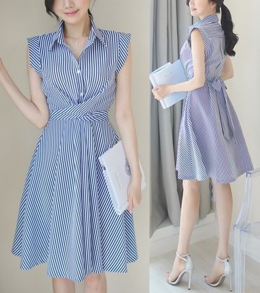 Striped Ribbon waist flare dress all