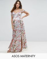 ASOS(エイソス) マタニティウェア・授乳服・グッズその他 ☆ASOS Maternity Rose Floral Cold Shoulder Satin Maxi Dres☆