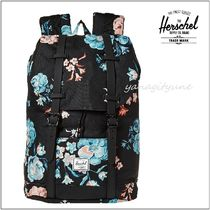 【Herschel Supply】Retreat Mid-Volume 花柄リュック 黒系