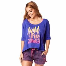 国内在庫 ズンバ Wild About Zumba Off the Shoulder Tee Purple