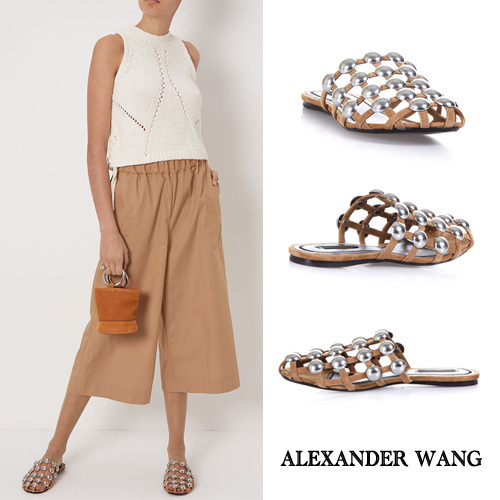 【VIP】数量限定ALEXANDER WANG STUDDED SUEDE&LEATHERサンダル