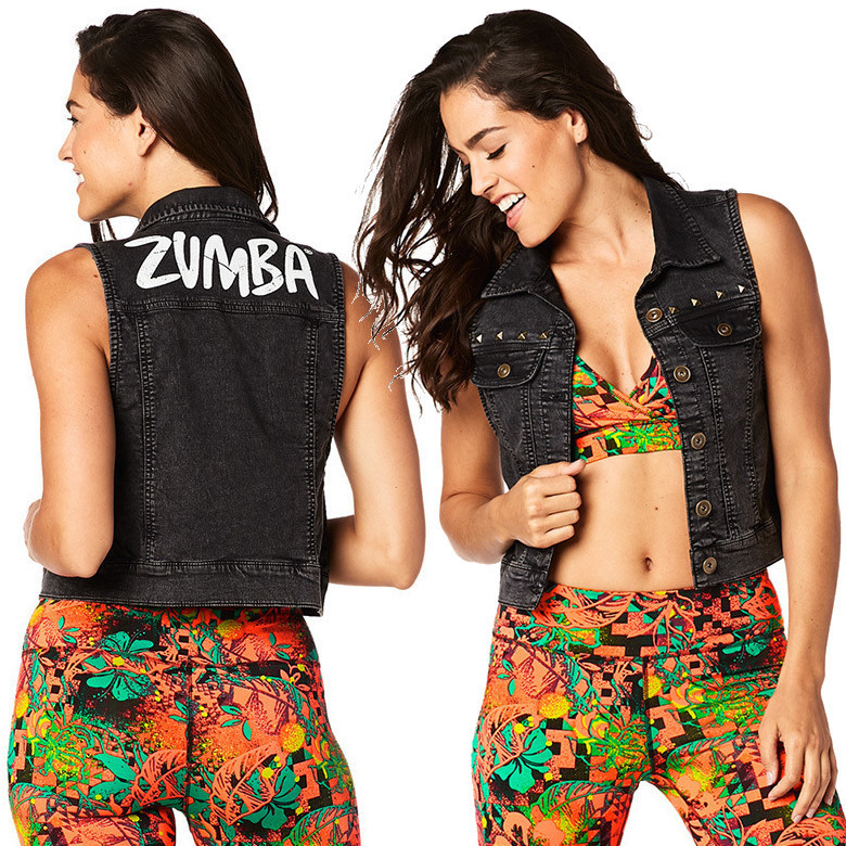 4月新作【送料無料】ZUMBA Get Wild Denim Vest★Back to Black