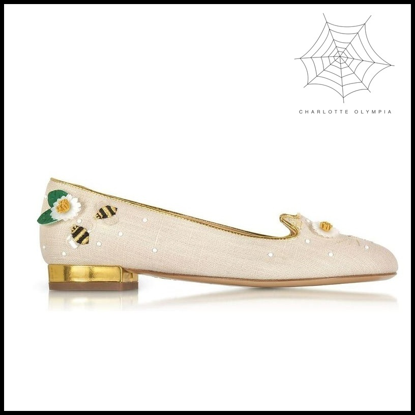 【Charlotte Olympia】Floral Natural Linen Kitty Flats