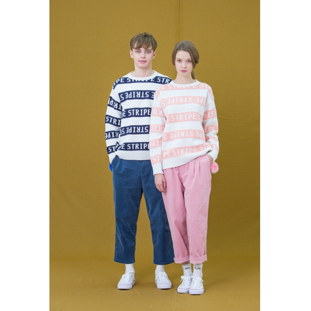 ★韓国の人気★LUV IS TRUE★(UNISEX)CH STRIPE KNIT_BLUE★