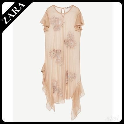 ZARA embroidered tulle dress