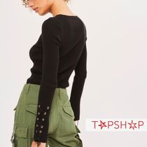 【TOP SHOP】Eyelet Sleeve Knitted Top
