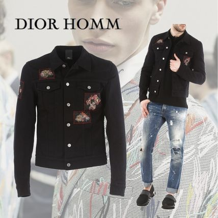 DIOR HOMME Embroidered Details Denim Jacket Black
