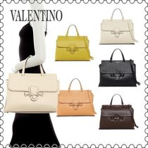 【VALENTINO】Olympia Leather Satchel with Woven Strap(正規)