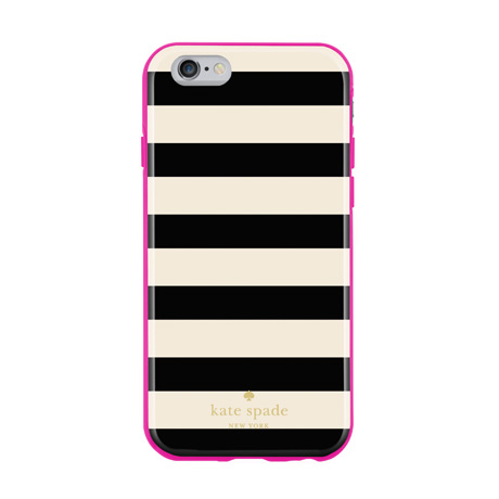 ☆Kate Spade ボーダーiPhone 6/6S対応ケース・BK x WH☆