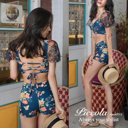 ♦ PICCOLA ♦ lace up bikini dress with see-through floral)