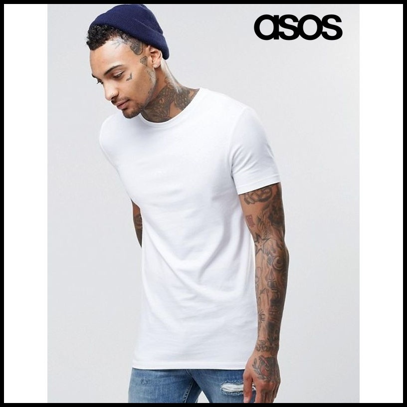 【ASOS(エイソス)】 Longline Muscle T-Shirt In White