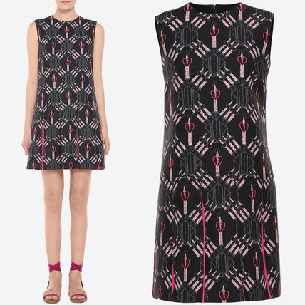 17SS V710 'LOVE BLADE' PRINTED CREPE COUTURE DRESS