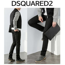 D SQUARED2 ★ 74LB0150 BLACK LEATHER PATCH JEANS SLIM FIT