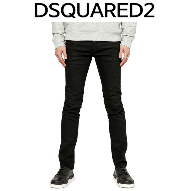 D SQUARED2 ★ BLACK LEATHER PATCH JEANS COOL GUY FIT