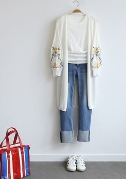 Sent with new summer popular embroidery long sleeve cardigan