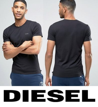 DIESEL logo crew neck T shirt black tax