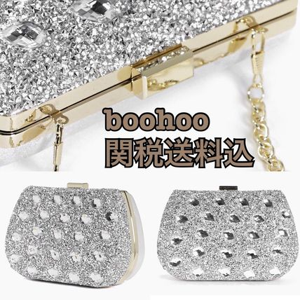 boohoo jewel decorated silver clutch bag