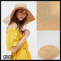 ★送関込★国内発ASOS Straw Floppy Rose Gold Metallic Hat