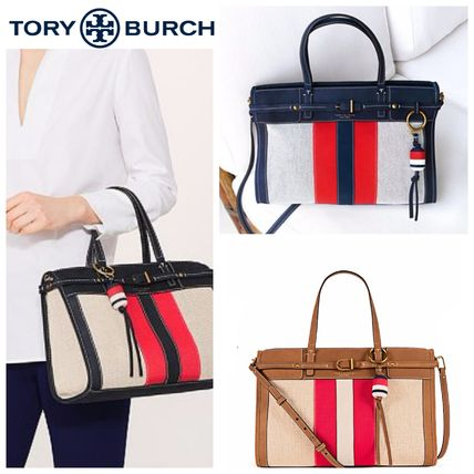 TORY BURCH◆新作 異素材サッチェルCanvas & Suede Satchel
