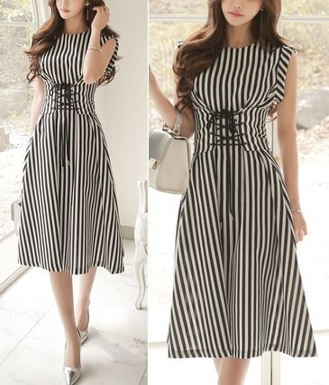 Striped lace-up belt-style flared dress all