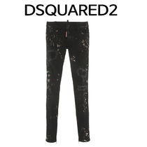 D SQUARED2 ★ WHITE PAINT BLACK JEANS SUPER SKINNY FIT