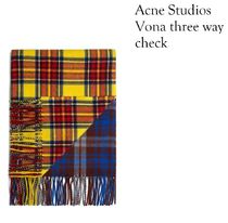 ACNE Canada Vona three way check チェック柄ウール100マフラー