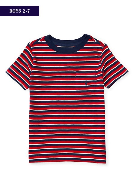 新作♪国内発送 3色 STRIPED COTTON POCKET TEE boys 2~7