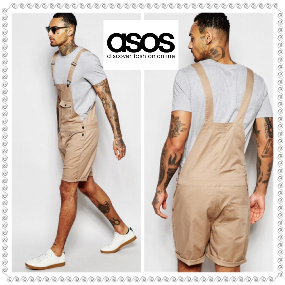 ASOS ★送料込みShort Dungarees In Stone Twill