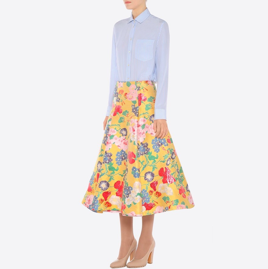 17SS V726 LOOK11 'ROMANTIC FLOWER' BROCADE FLARE SKIRT