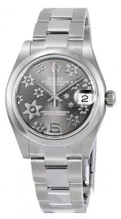 ROLEX Datejust Lady 31 Floral Rhodium Oyster Automatic Watch