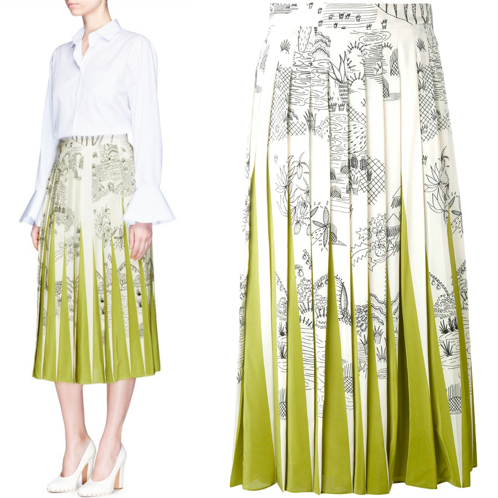17SS V729 'GARDEN OF DELIGHT' SILK CREPE PLEATED SKIRT