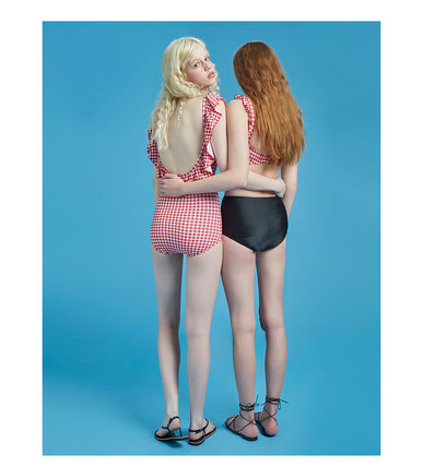 Point flying gingham check dress swimsuit a449