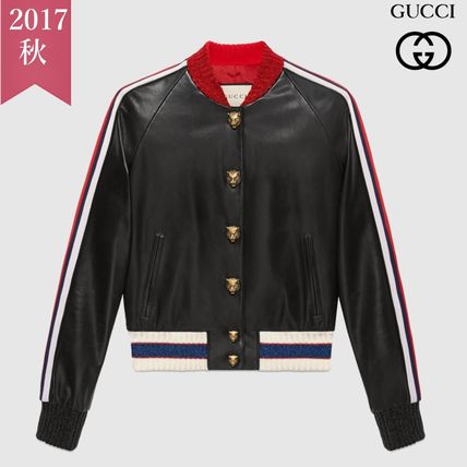 Fall/winter Hollywood embroidery leather bomber jacket GUCCI