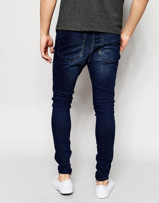 【送関込】SikSilk Drop Crotch Jeans/Distressing/ Indigo