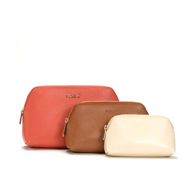 FURLA ポーチ コスメティック 3set Coral Pink+red brown+ivory