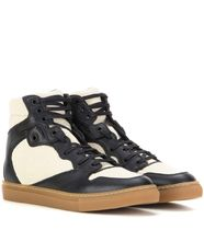 Leather & fabric high-top sneakers ハイトップスニーカー