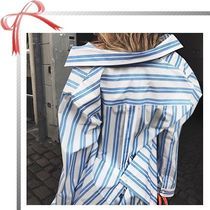 【BALENCIAGA】Oversized Striped Cotton-Poplin Shirt