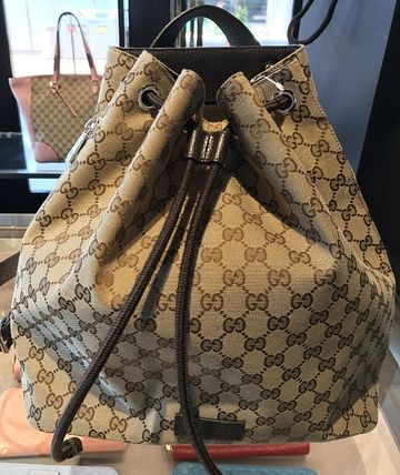 GUCCI GGキャンバス 巾着バックパック 茶色★国内発送