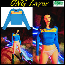 UNG layer(ユーエヌジーレイヤー) Tシャツ・カットソー 無料配送★UNG Layer★fire ball FITTED TOP-blue/yellow