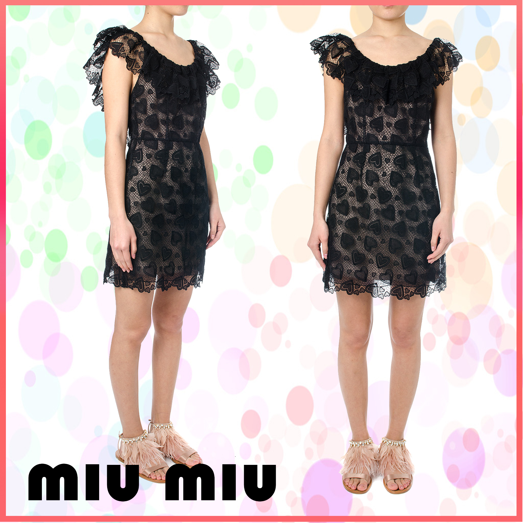 【VIP】数量限定 MIU MIU LOVE MOTIF LACE DRESS Black