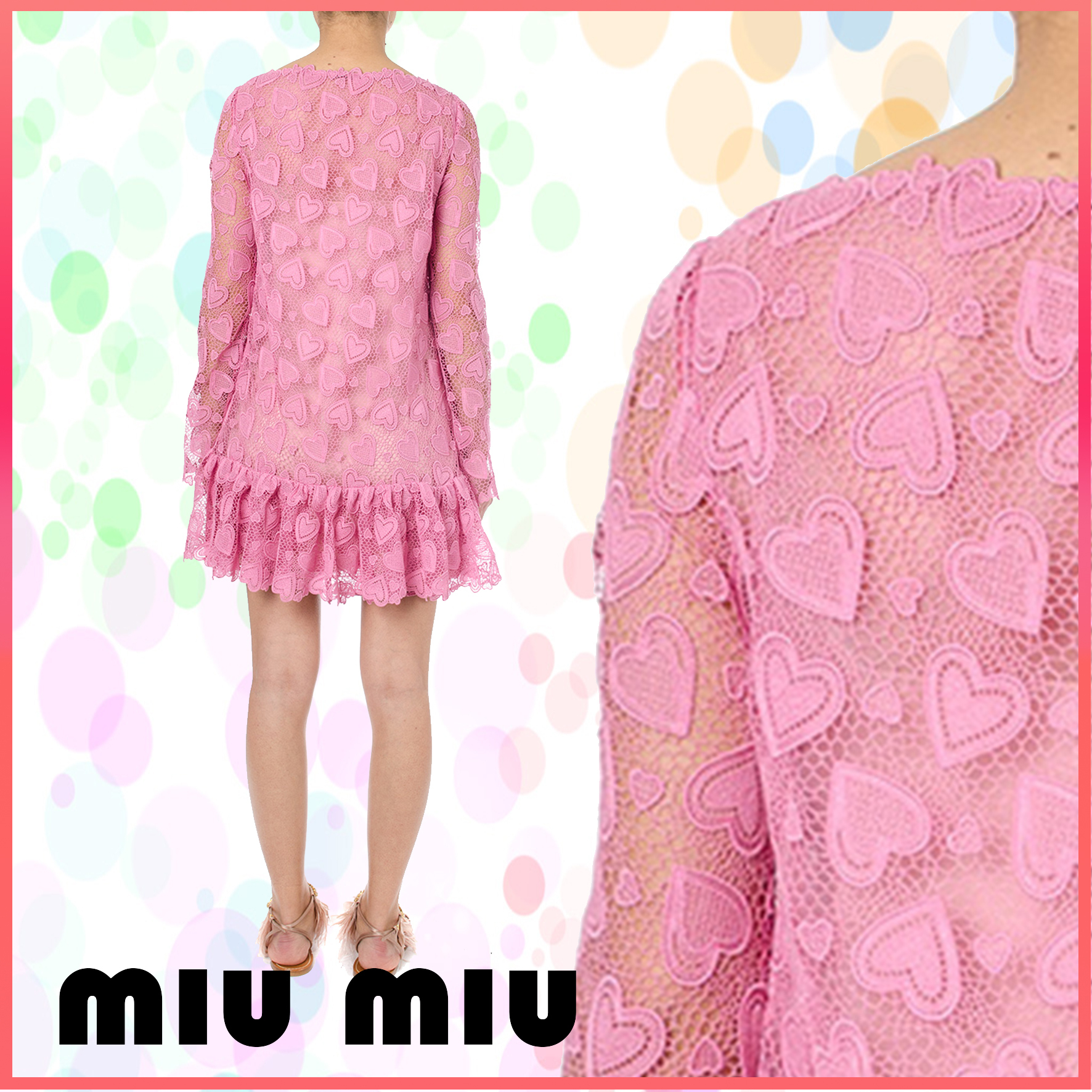 【VIP】数量限定 MIU MIU LOVE MOTIF LACE DRESS Pink