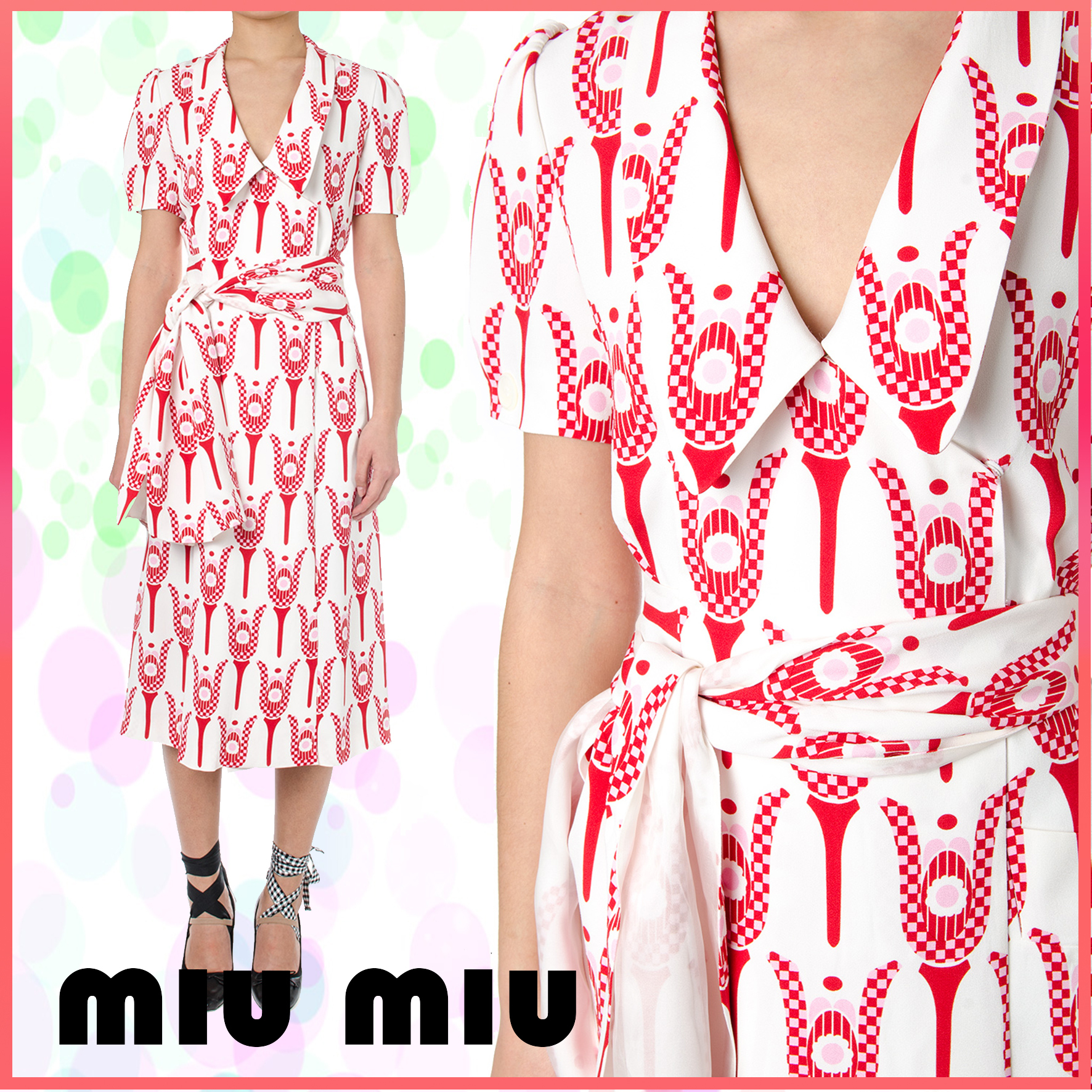 【VIP】数量限定 MIU MIU CREPE PRINTED WRAP DRESS