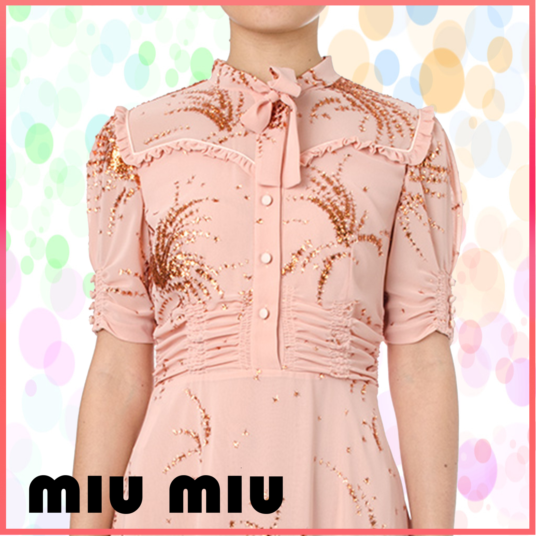 【VIP】数量限定 MIU MIU CHIFFON DRESS WITH LUREX DETAILS