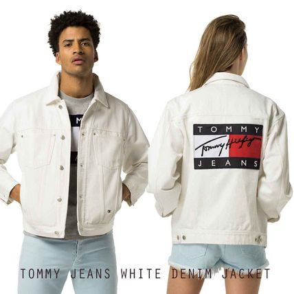 TOMMY JEANS WHITE DENIM JACKET トミージーンズ ビッグロゴ 白
