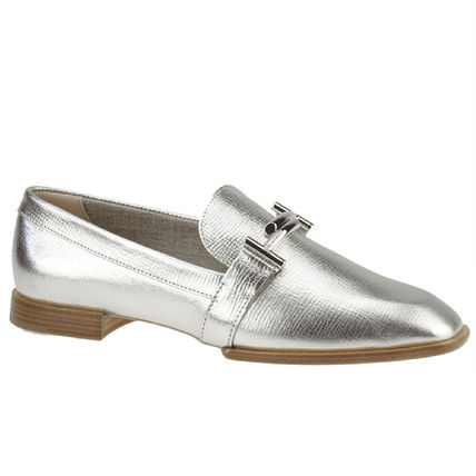 17SS TOD'S★Double T Metallic Loafers/Silver 関税/送料込