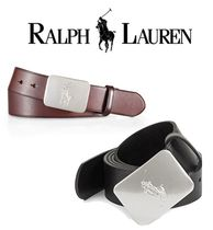 *Ralph Lauren*ロゴバックルベルト Logo Plaque Leather Belt