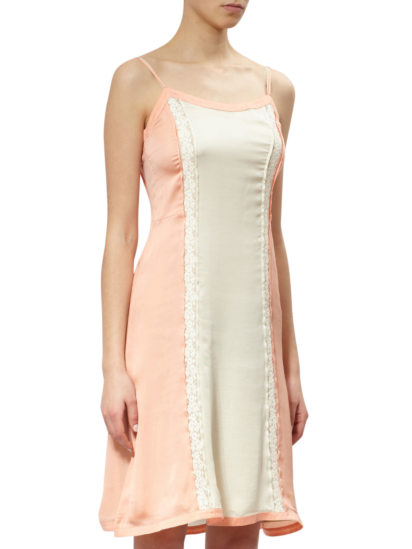 PR522 BI-COLOR SILK SATIN SLIP DRESS WITH LACE PANEL