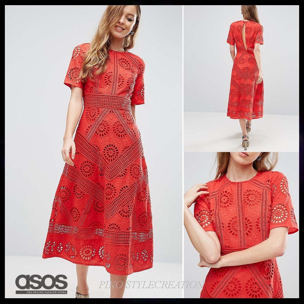 ★送関込★ ASOS PREMIUM Midi Dress in Broderie Fabric