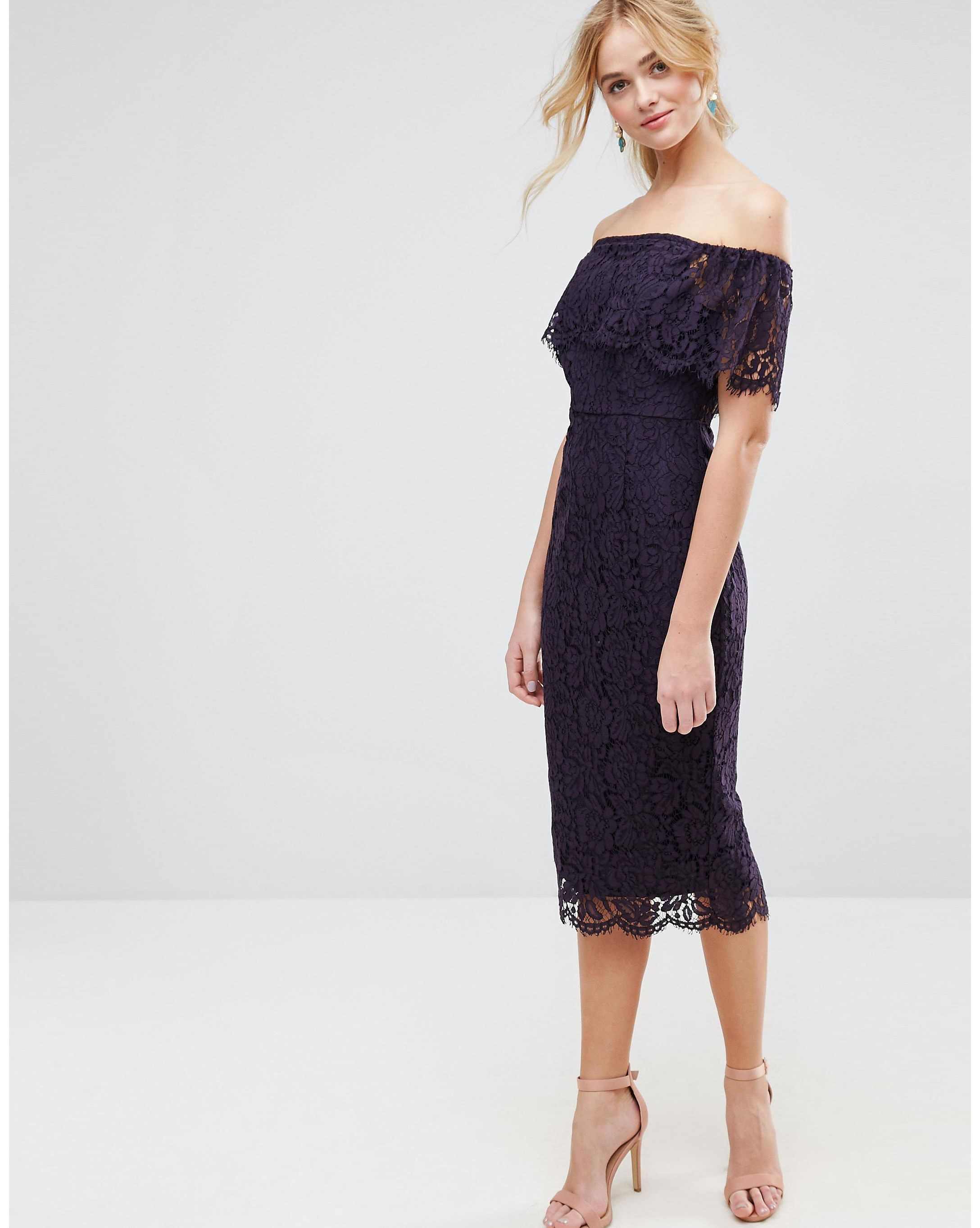 ★送関込★ ASOS Lace Bardot Midi Pencil Dress